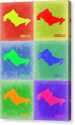 Honolulu Pop Art Map 5 Canvas Print
