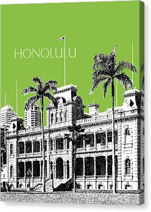 Honolulu Skyline Iolani Palace - Olive Canvas Print by DB Artist