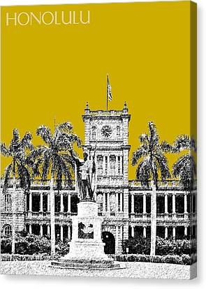 Honolulu Skyline King Kamehameha - Gold Canvas Print by DB Artist