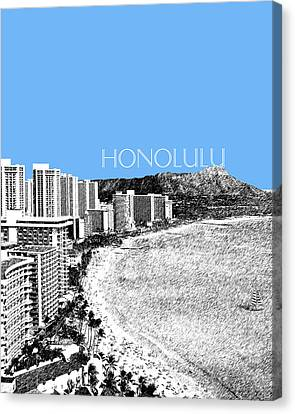 Honolulu Skyline Waikiki Beach - Light Blue Canvas Print by DB Artist