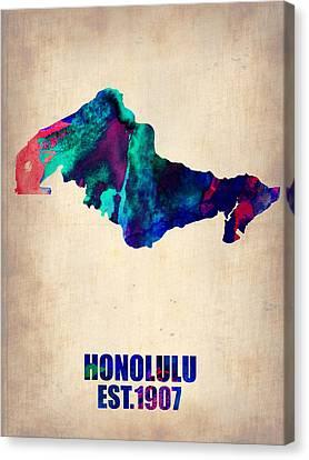 Honolulu Watercolor Map Canvas Print