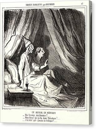 Honoré Daumier French, 1808 - 1879. Un Réveil En Sursaut Canvas Print by Litz Collection