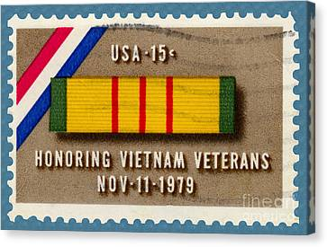 Honoring Vietnam Veterans Service Medal Postage Stamp Canvas Print by Phil Cardamone