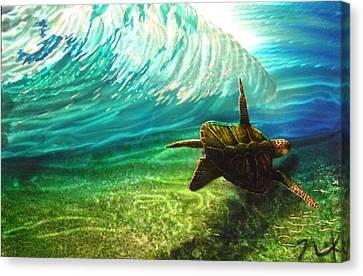 Honu Surf 2 Canvas Print by Nick Knezic