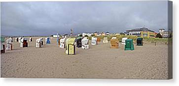 Empty Chairs Canvas Print - Hooded Beach Chairs On The Beach by Panoramic Images