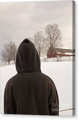 Hooded Boy At Farm In Winter Canvas Print by Edward Fielding