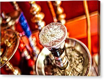 Hookah With Red Background Canvas Print by Shanna Gillette