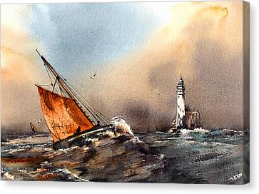 Hooker Rounding The Fastnet West Cork Canvas Print by Val Byrne