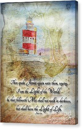 Hookhead Lighthouse Painting With Verse Canvas Print by Debbie Portwood