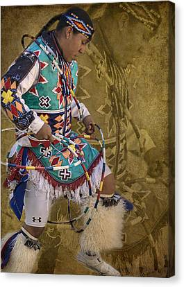 Native American Clothes Canvas Print - Hoop Dancer Past And Present by Priscilla Burgers