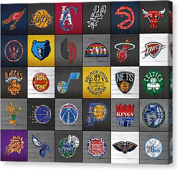 Hoop It Up Recycled Vintage Basketball League Team Logos License Plate Art Canvas Print by Design Turnpike