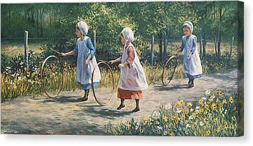 Hooping It Up Canvas Print by Laurie Hein