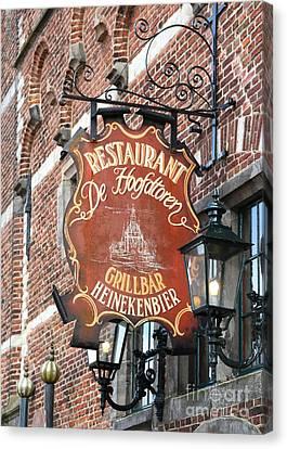 Hoorn Restaurant Sign Canvas Print by Carol Groenen