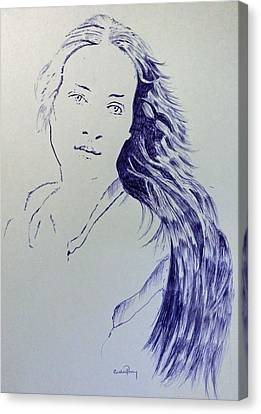 Biro Art Canvas Print - Hope In Blue Biro by Callan Percy