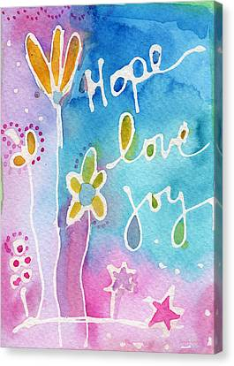 Hope Love Joy Canvas Print by Linda Woods
