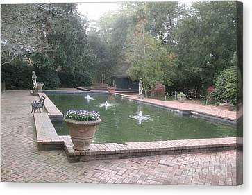 Hopeland Gardens Fountain - Aiken South Carolina Canvas Print by Kathy Fornal