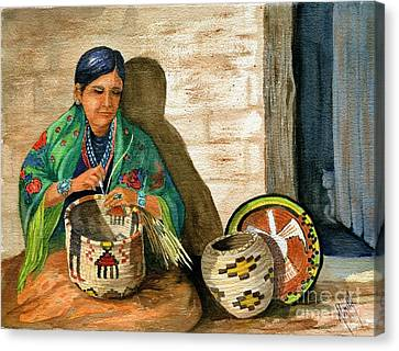 Hopi Basket Weaver Canvas Print by Marilyn Smith