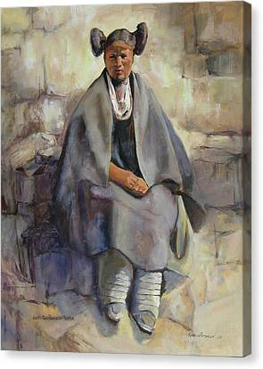 Hopi Girl Seated Canvas Print by Synnove Pettersen