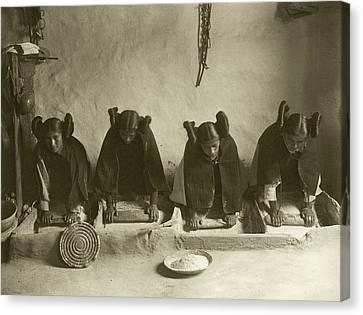 Hopi Women Grinding Grain Canvas Print by Library Of Congress