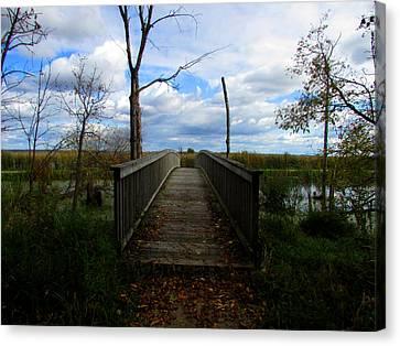 Horicon Bridge In Autumn Canvas Print by Kimberly Mackowski