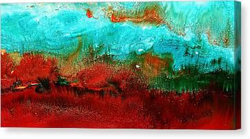 Horizontal Panoramic Abstract Art - Burning Meadows By Kredart Canvas Print by Serg Wiaderny
