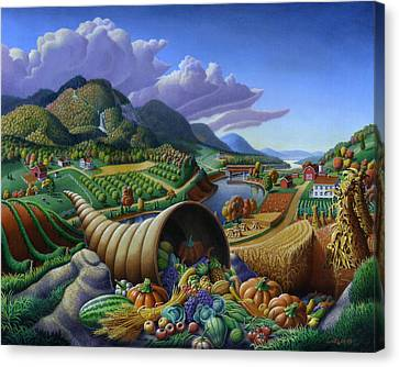 Horn Of Plenty - Cornucopia - Autumn Thanksgiving Harvest Landscape Oil Painting - Food Abundance Canvas Print by Walt Curlee