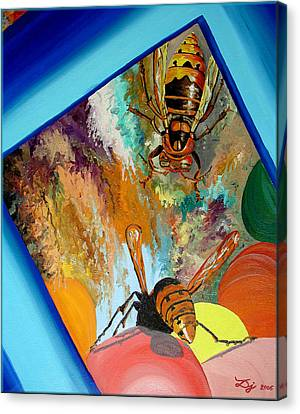 Canvas Print featuring the painting Hornets by Daniel Janda