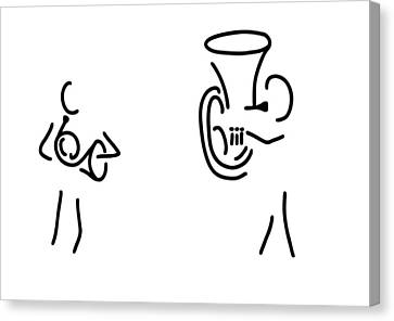 Tubist Canvas Print - Hornist Tuba Brass Player by Lineamentum