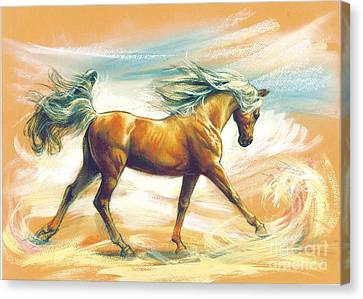 Horse Akalteke Canvas Print by Zorina Baldescu