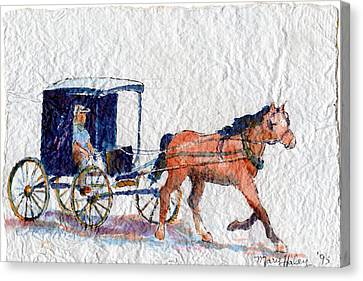 Canvas Print featuring the painting Horse And Buggy by Mary Haley-Rocks