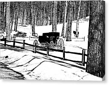 Canvas Print featuring the photograph Horse And Buggy - No Work Today A Black And White Abstract by Janice Adomeit