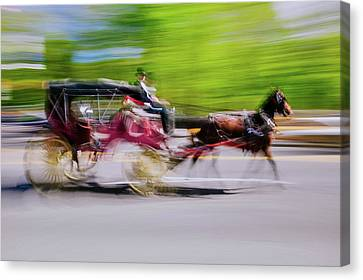 Horse And Carriage Drives In Traffic Canvas Print