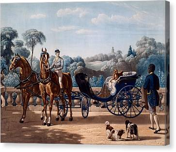 Horse And Carriage, First Half C19th Canvas Print