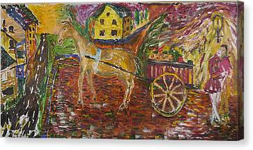 Horse And Cart Canvas Print by Dozel Lake