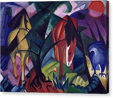 Horse And Eagle Canvas Print by Franz Marc