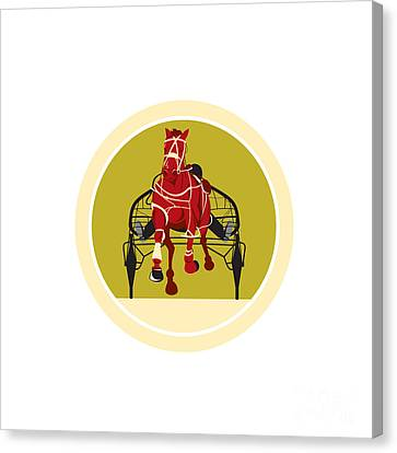 Horse And Jockey Harness Racing Retro Canvas Print by Aloysius Patrimonio