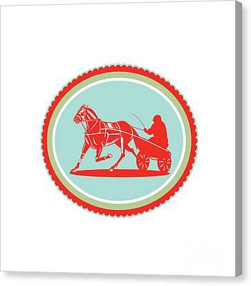 Horse And Jockey Harness Racing Rosette Retro Canvas Print by Aloysius Patrimonio