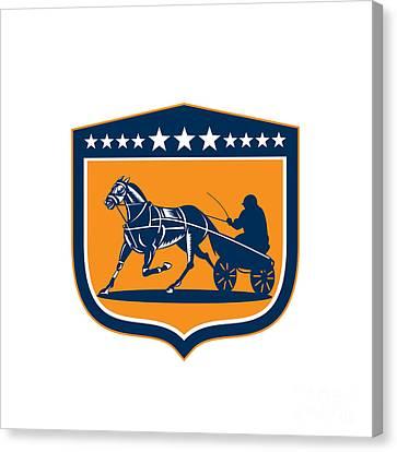 Horse And Jockey Harness Racing Shield Retro Canvas Print by Aloysius Patrimonio
