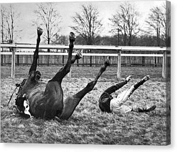 Horse And Rider Fall Alike Canvas Print