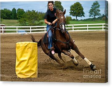 Horse And Rider In Barrel Race Canvas Print by Amy Cicconi