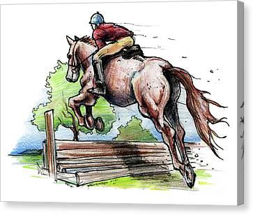 Horse And Rider Canvas Print by John Ashton Golden