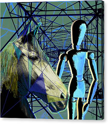 Horse And Rider Canvas Print by Maria Jesus Hernandez