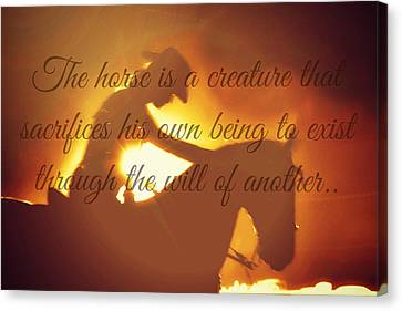 Cabin Wall Canvas Print - Horse And Rider Silhouette  by Chastity Hoff