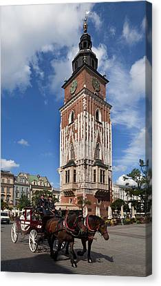 Horse And Trap Passing Wieza Ratuszowa Canvas Print by Panoramic Images