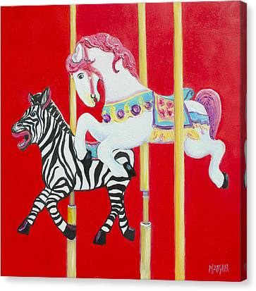 Horse And Zebra Carousel Canvas Print
