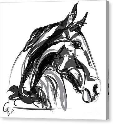 Horse- Apple -digi - Black And White Canvas Print
