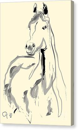 Canvas Print featuring the painting Horse - Arab by Go Van Kampen