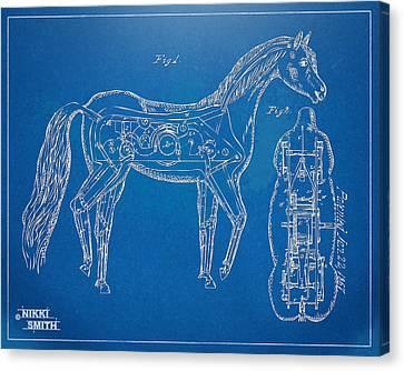 Horse Automatic Toy Patent Artwork 1867 Canvas Print