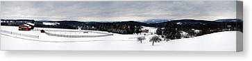 Horse Barn In The Winter Canvas Print