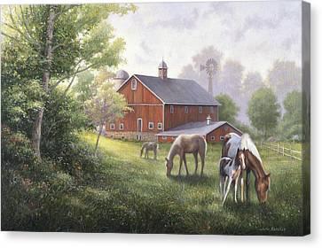 Horse Barn Canvas Print by John Zaccheo